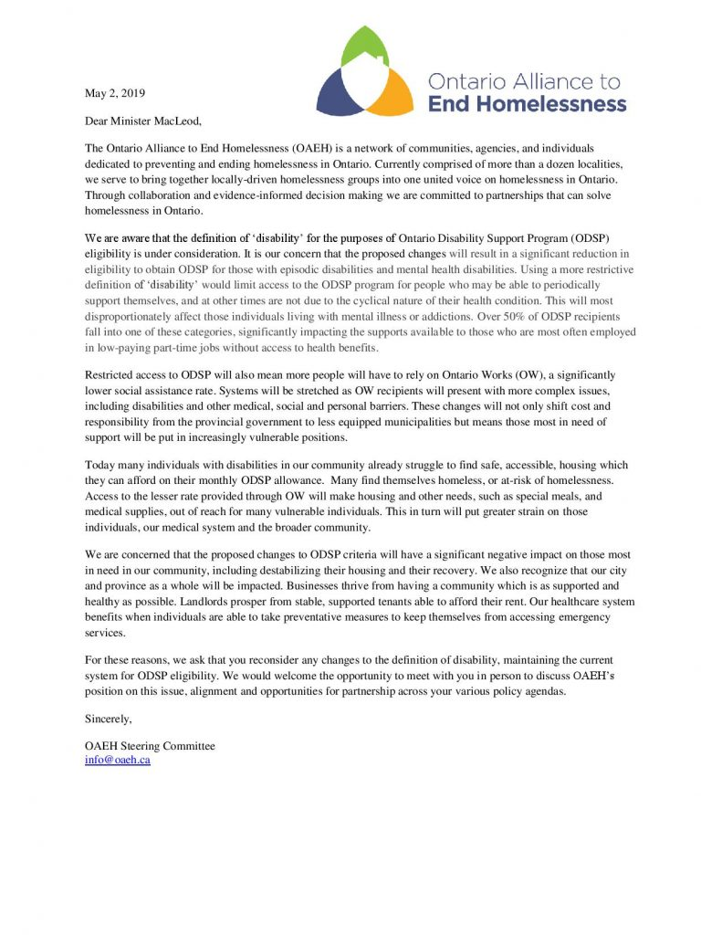 Ontario Alliance To End Homelessness joins the fight for ODSP – London  Homeless Coalition